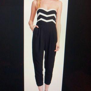 Parker Carmela chevron strapless crop jumpsuit